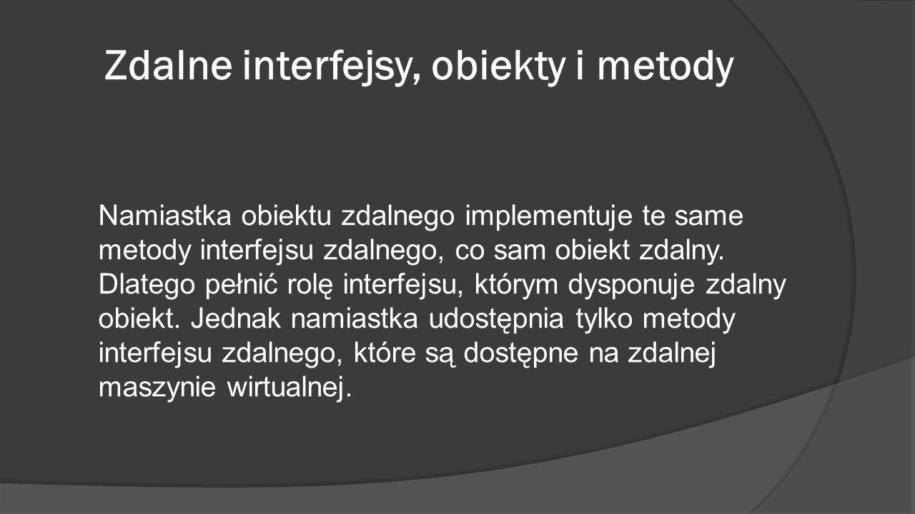 Zdalne interfejsy, obiekty i metody