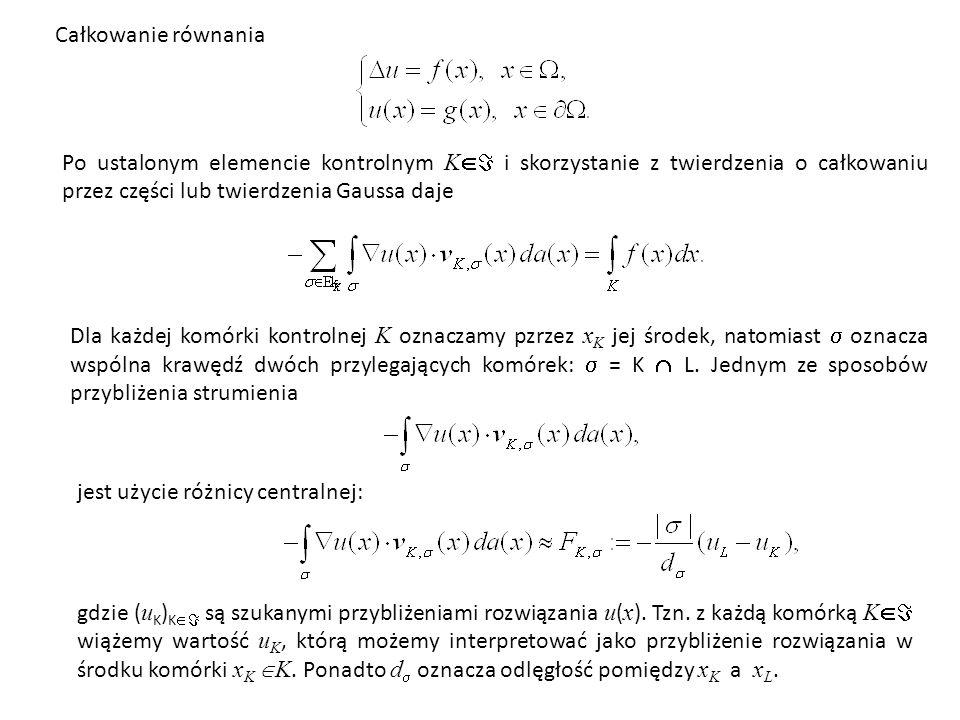 Całkowanie równania Po ustalonym elemencie kontrolnym K i skorzystanie z twierdzenia o całkowaniu przez części lub twierdzenia Gaussa daje.
