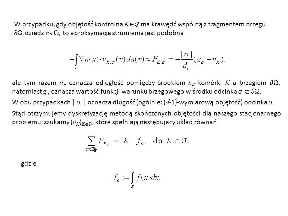 W przypadku, gdy objętość kontrolna K ma krawędź wspólną z fragmentem brzegu  dziedziny , to aproksymacja strumienia jest podobna
