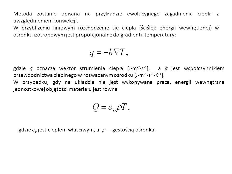 Metoda zostanie opisana na przykładzie ewolucyjnego zagadnienia ciepła z uwzględnieniem konwekcji.