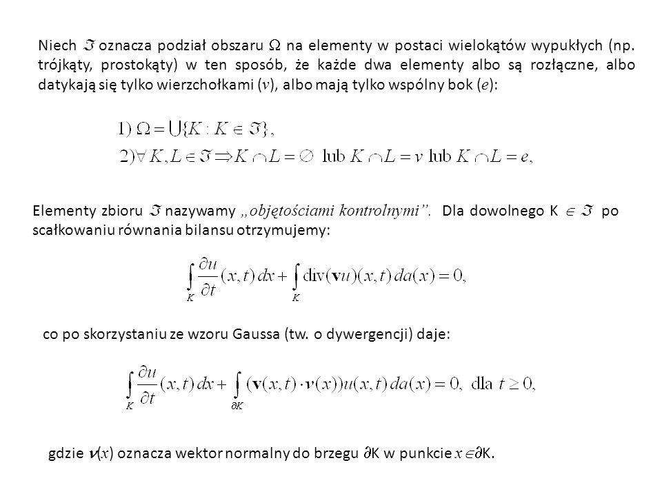 Niech  oznacza podział obszaru  na elementy w postaci wielokątów wypukłych (np. trójkąty, prostokąty) w ten sposób, że każde dwa elementy albo są rozłączne, albo datykają się tylko wierzchołkami (v), albo mają tylko wspólny bok (e):