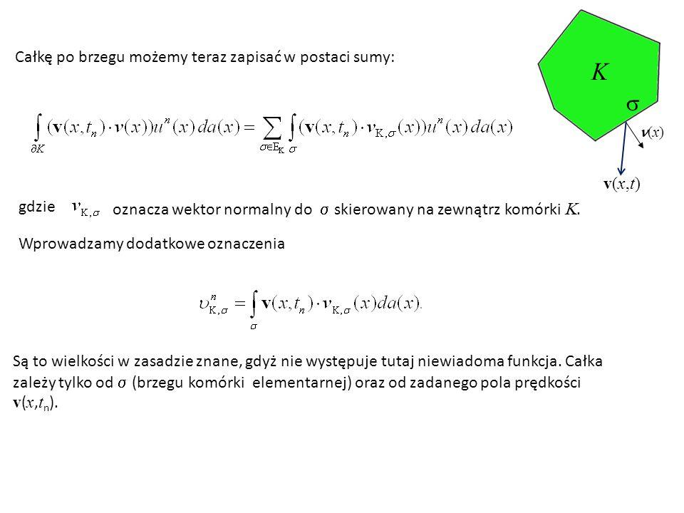 K  Całkę po brzegu możemy teraz zapisać w postaci sumy: v(x,t) gdzie