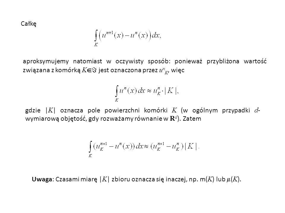 Całkę aproksymujemy natomiast w oczywisty sposób: ponieważ przybliżona wartość związana z komórką K jest oznaczona przez unK, więc.