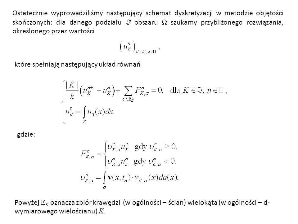 Ostatecznie wyprowadziliśmy następujący schemat dyskretyzacji w metodzie objętości skończonych: dla danego podziału  obszaru  szukamy przybliżonego rozwiązania, określonego przez wartości
