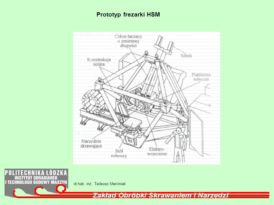 Prototyp frezarki HSM dr hab. inż.. Tadeusz Marciniak
