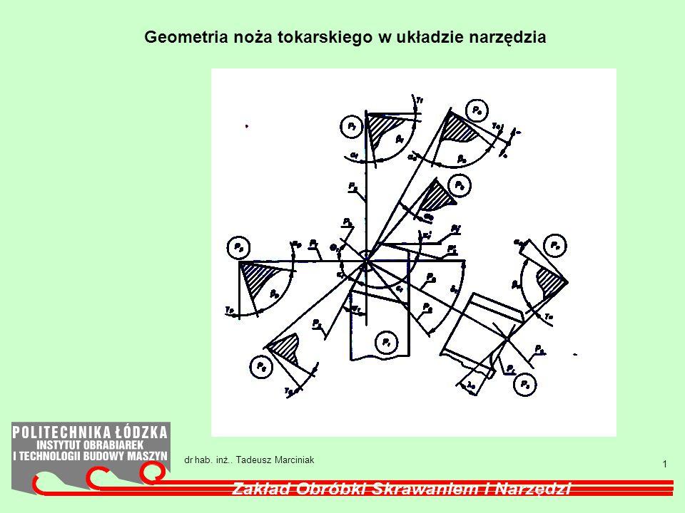 Geometria noża tokarskiego w układzie narzędzia
