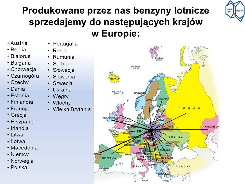 Produkowane przez nas benzyny lotnicze sprzedajemy do następujących krajów w Europie: