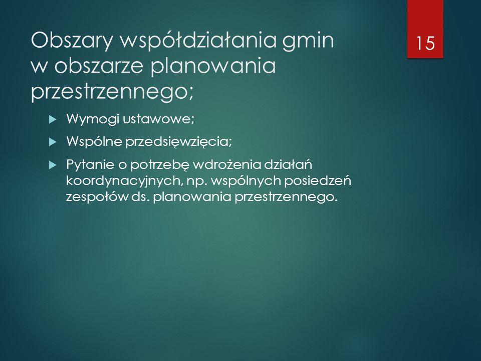 Obszary współdziałania gmin w obszarze planowania przestrzennego;