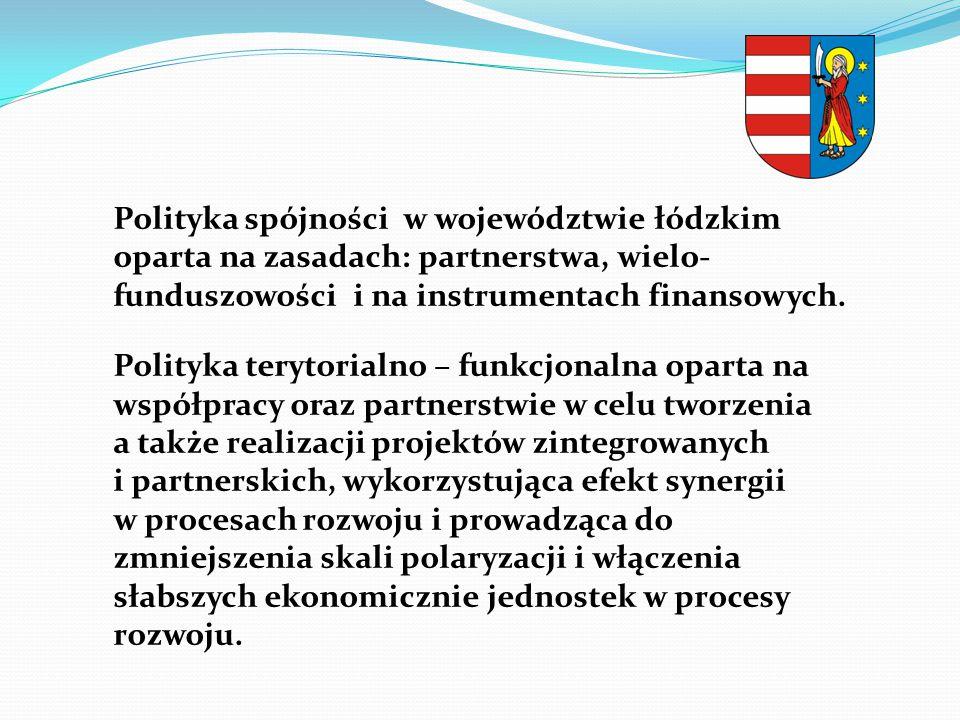Polityka spójności w województwie łódzkim oparta na zasadach: partnerstwa, wielo- funduszowości i na instrumentach finansowych.