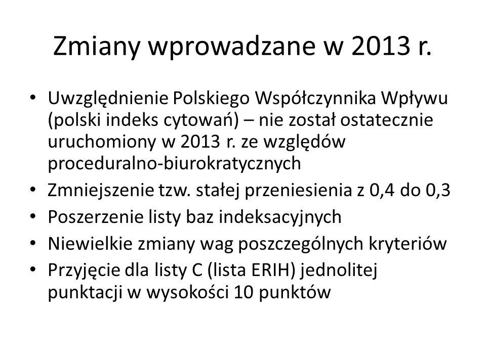 Zmiany wprowadzane w 2013 r.