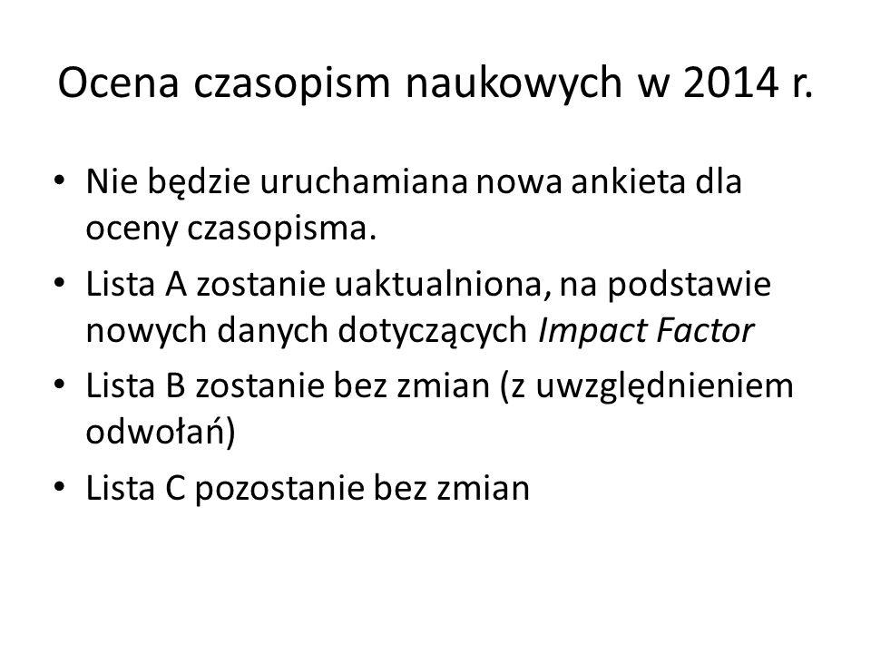 Ocena czasopism naukowych w 2014 r.