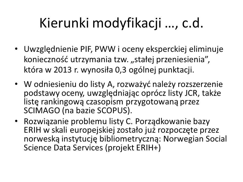 Kierunki modyfikacji …, c.d.