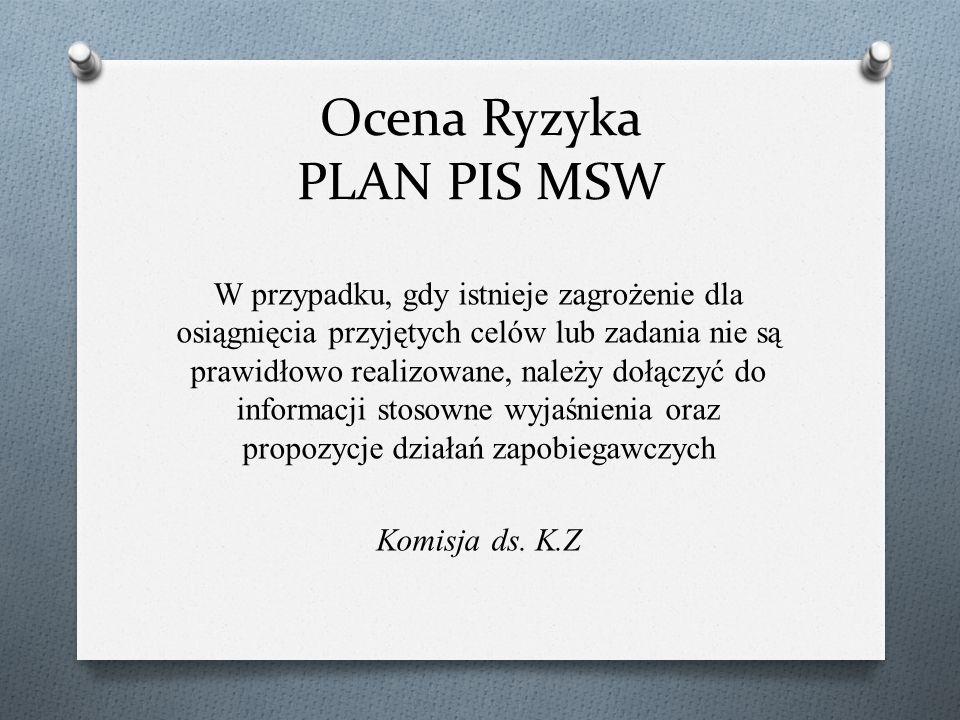 Ocena Ryzyka PLAN PIS MSW