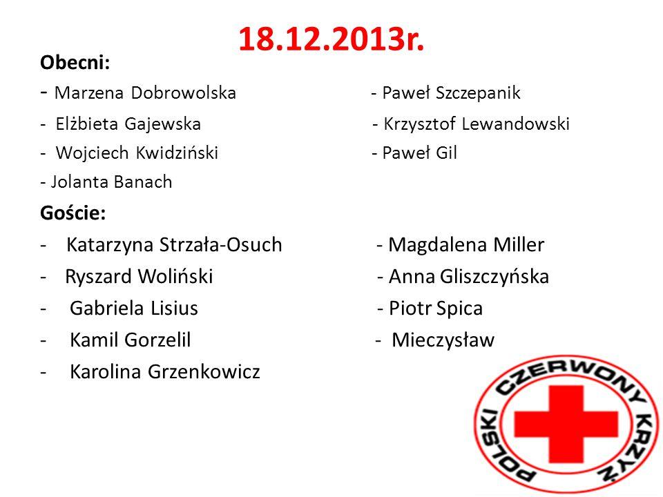 18.12.2013r. Obecni: - Marzena Dobrowolska - Paweł Szczepanik Goście: