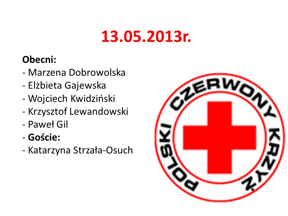 13.05.2013r. Obecni: - Marzena Dobrowolska - Elżbieta Gajewska