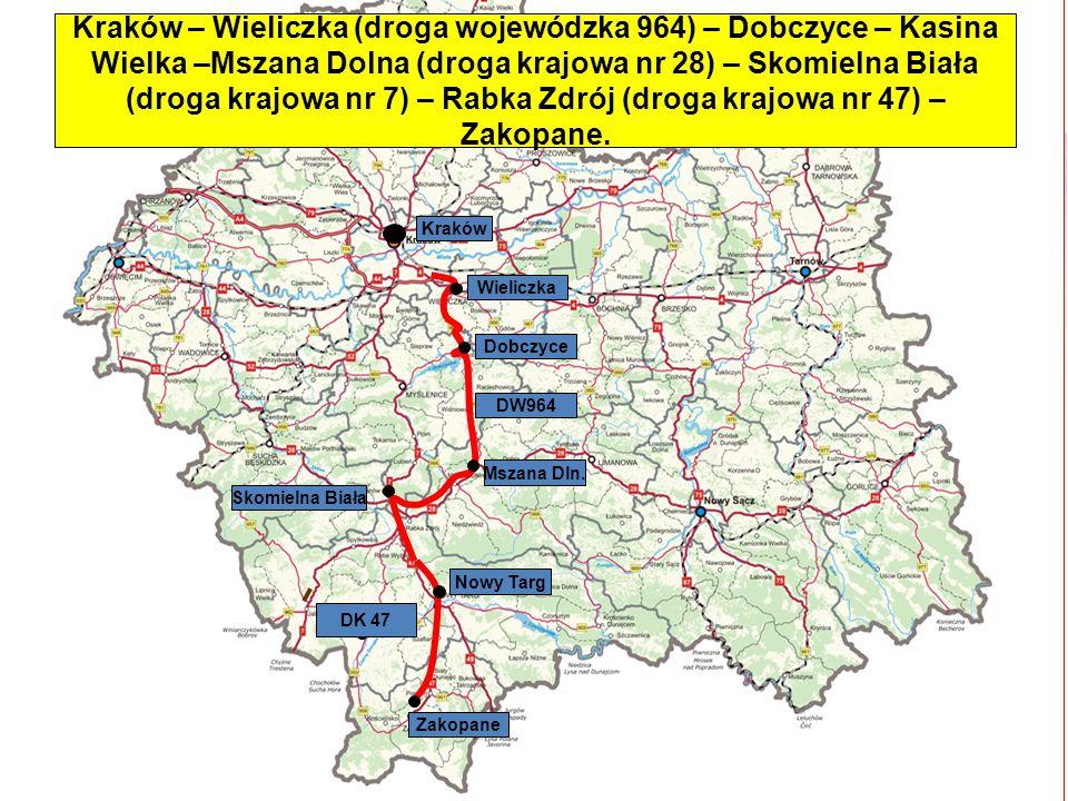 Kraków – Wieliczka (droga wojewódzka 964) – Dobczyce – Kasina Wielka –Mszana Dolna (droga krajowa nr 28) – Skomielna Biała (droga krajowa nr 7) – Rabka Zdrój (droga krajowa nr 47) – Zakopane.