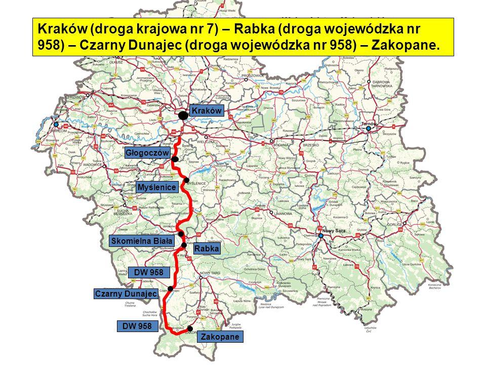 Kraków (droga krajowa nr 7) – Rabka (droga wojewódzka nr 958) – Czarny Dunajec (droga wojewódzka nr 958) – Zakopane.