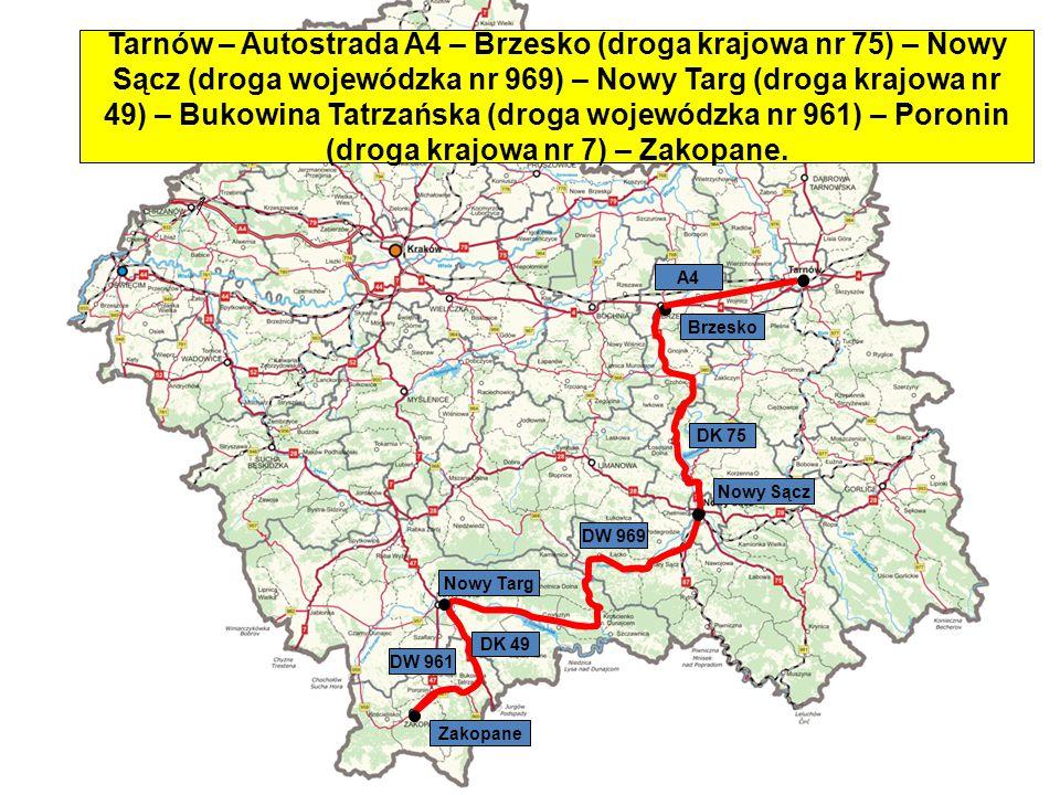Tarnów – Autostrada A4 – Brzesko (droga krajowa nr 75) – Nowy Sącz (droga wojewódzka nr 969) – Nowy Targ (droga krajowa nr 49) – Bukowina Tatrzańska (droga wojewódzka nr 961) – Poronin (droga krajowa nr 7) – Zakopane.
