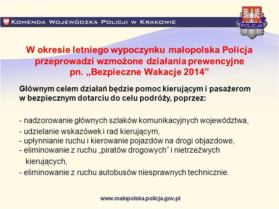 """W okresie letniego wypoczynku małopolska Policja przeprowadzi wzmożone działania prewencyjne pn. """"Bezpieczne Wakacje 2014"""