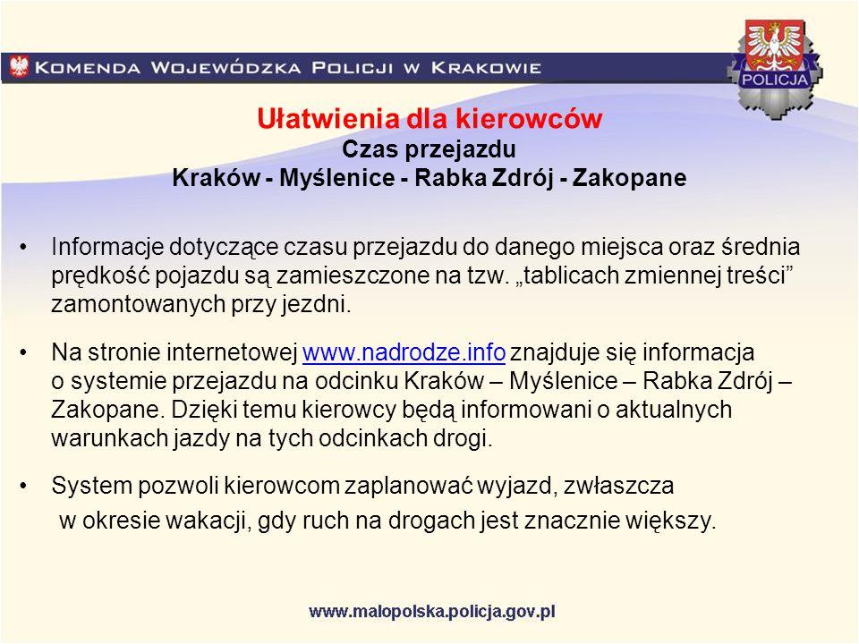 Ułatwienia dla kierowców Czas przejazdu Kraków - Myślenice - Rabka Zdrój - Zakopane