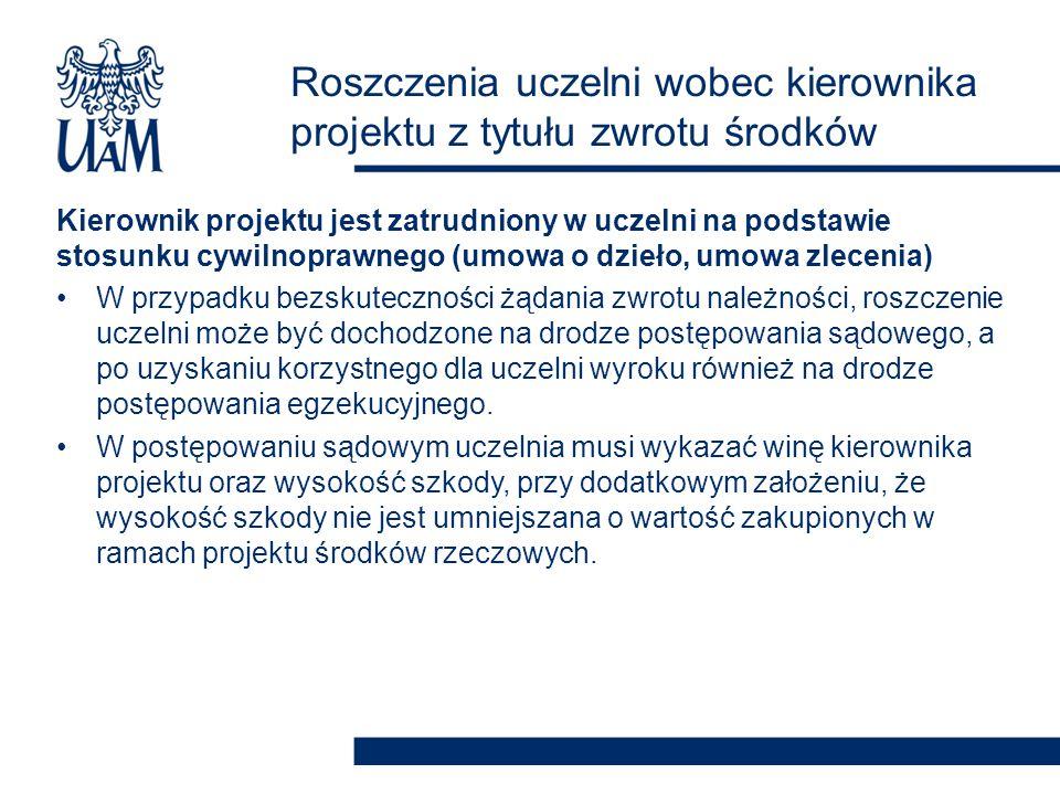 Roszczenia uczelni wobec kierownika projektu z tytułu zwrotu środków