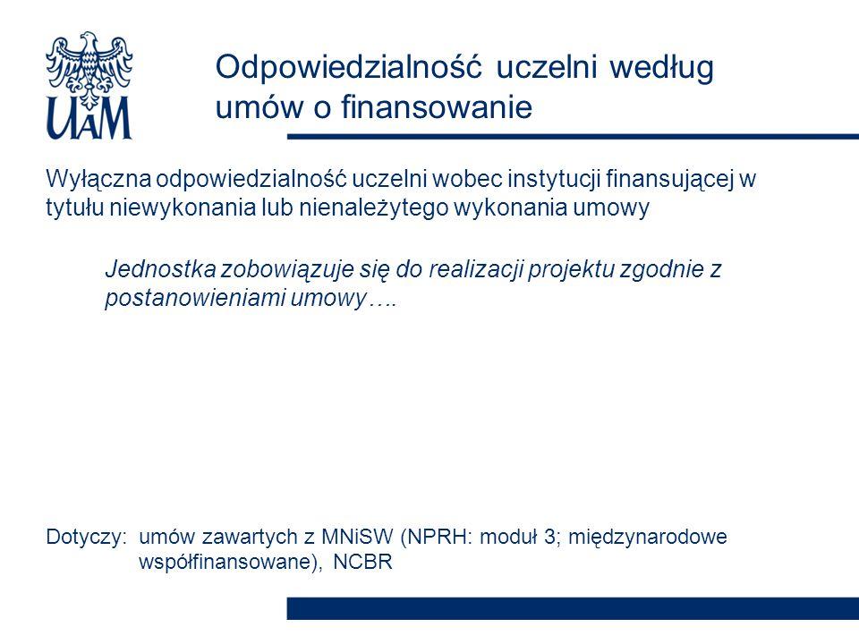 Odpowiedzialność uczelni według umów o finansowanie