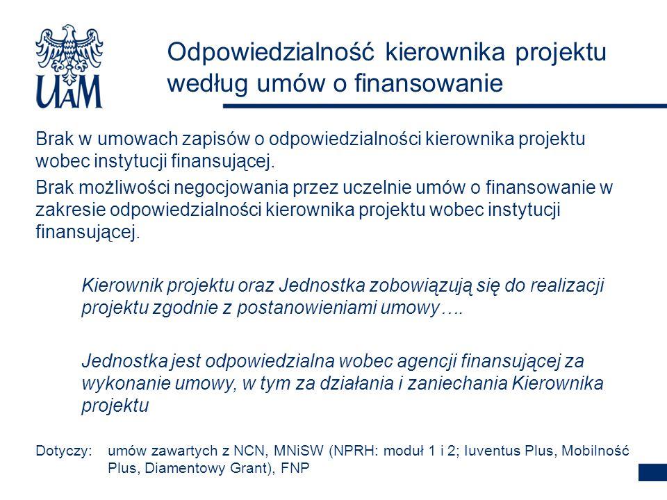 Odpowiedzialność kierownika projektu według umów o finansowanie