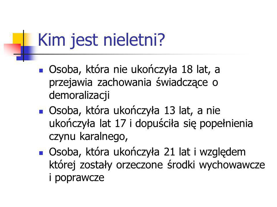 Kim jest nieletni Osoba, która nie ukończyła 18 lat, a przejawia zachowania świadczące o demoralizacji.