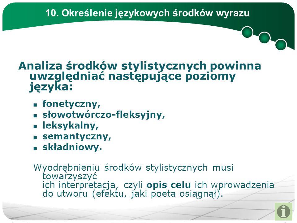 10. Określenie językowych środków wyrazu