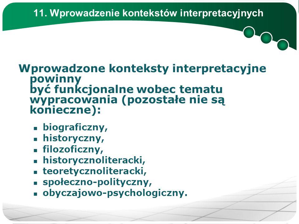 11. Wprowadzenie kontekstów interpretacyjnych