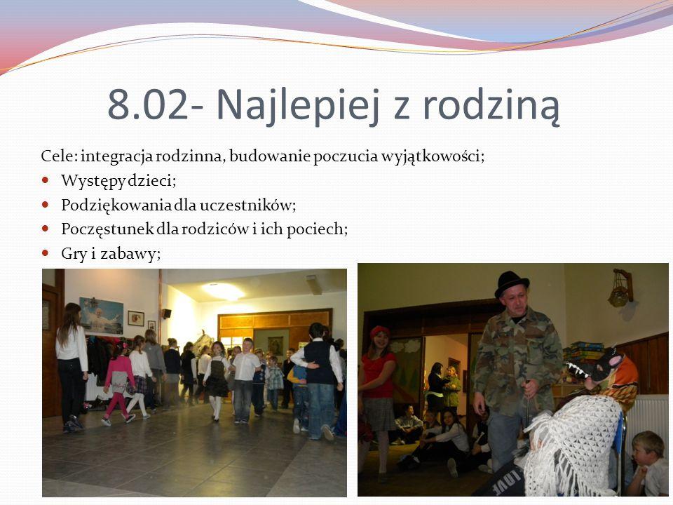 8.02- Najlepiej z rodziną Cele: integracja rodzinna, budowanie poczucia wyjątkowości; Występy dzieci;