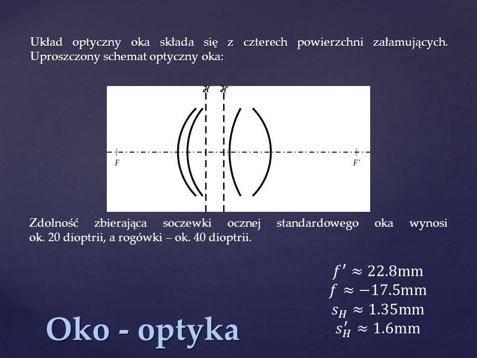 Oko - optyka 𝑓 ′ ≈22.8mm 𝑓≈−17.5mm 𝑠 𝐻 ≈1.35mm 𝑠 𝐻 ′ ≈1.6mm