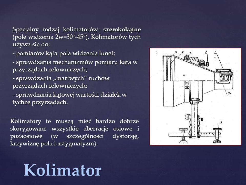 Specjalny rodzaj kolimatorów: szerokokątne (pole widzenia 2w=30-45)