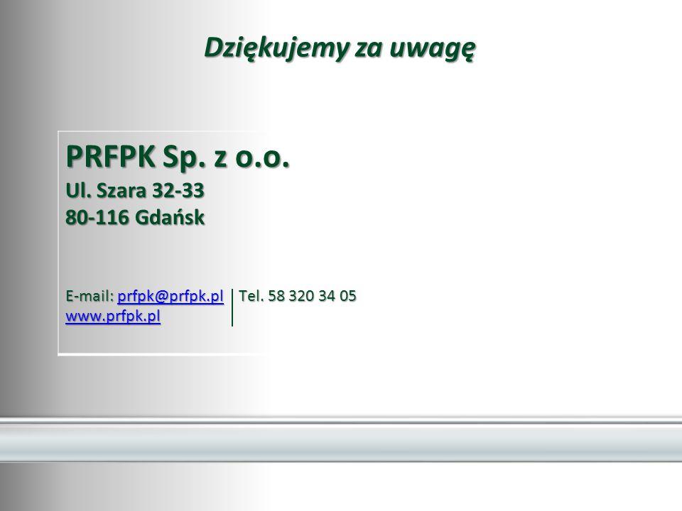 PRFPK Sp. z o.o. Dziękujemy za uwagę Ul. Szara 32-33 80-116 Gdańsk