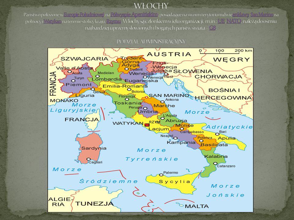 WŁOCHY Państwo położone w Europie Południowej, na Półwyspie Apenińskim, posiadające na swoim terytorium dwie enklawy: San Marino na północy i Watykan na terenie stolicy kraju, Rzymu.