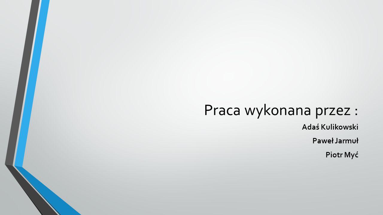 Praca wykonana przez : Adaś Kulikowski Paweł Jarmuł Piotr Myć