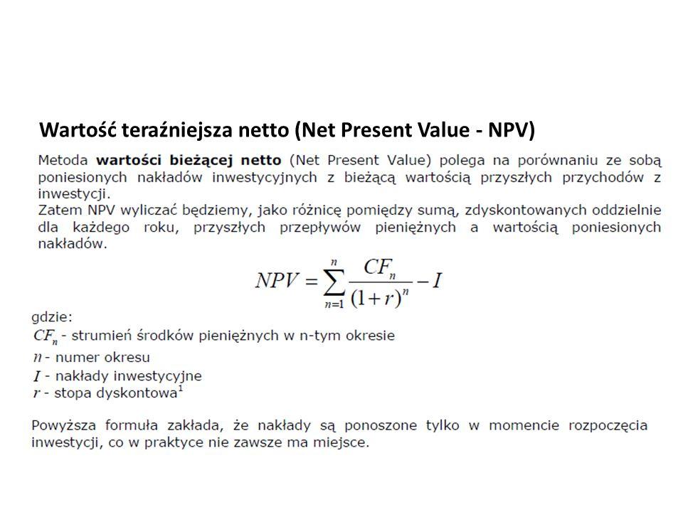 Wartość teraźniejsza netto (Net Present Value - NPV)
