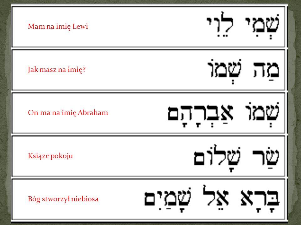 Mam na imię Lewi Jak masz na imię On ma na imię Abraham Ksiąze pokoju Bóg stworzył niebiosa