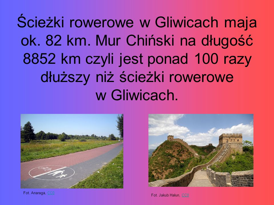 Ścieżki rowerowe w Gliwicach maja ok. 82 km