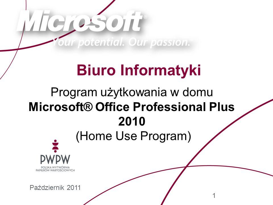 Program użytkowania w domu Microsoft® Office Professional Plus