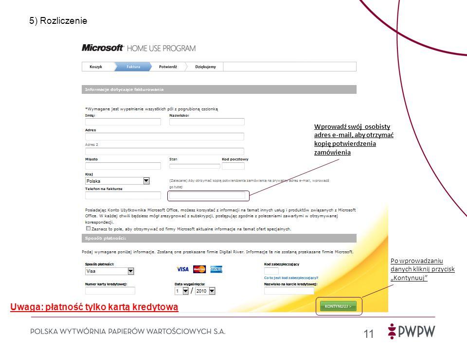 Uwaga: płatność tylko kartą kredytową