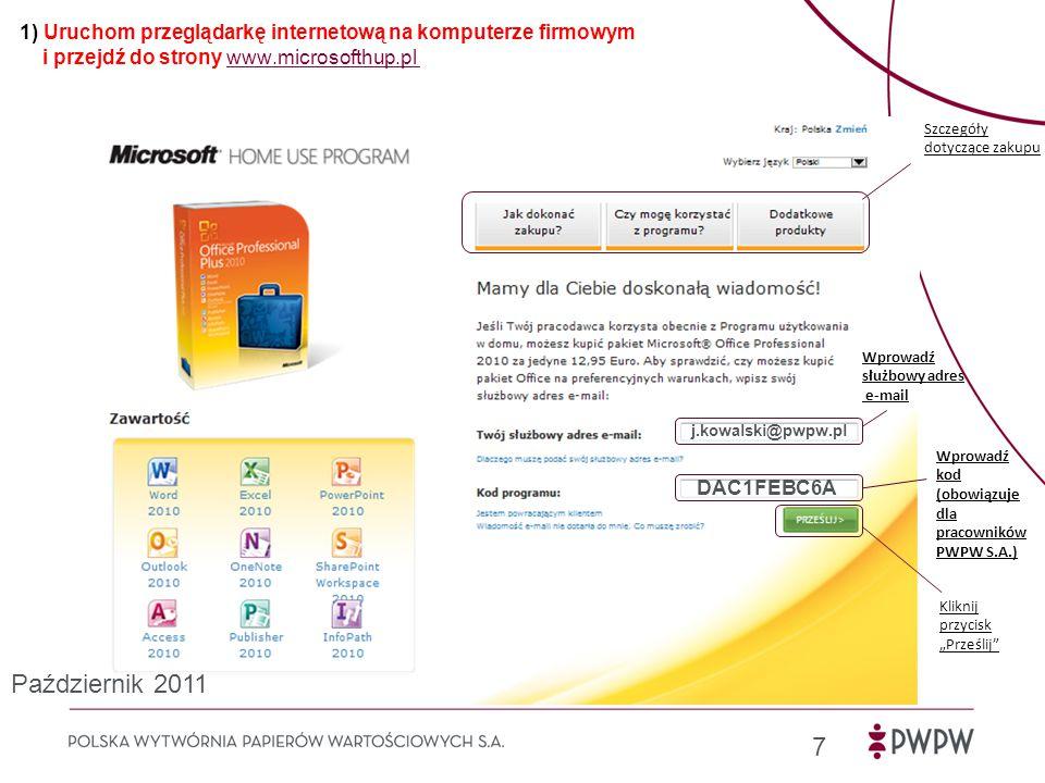 1) Uruchom przeglądarkę internetową na komputerze firmowym i przejdź do strony www.microsofthup.pl