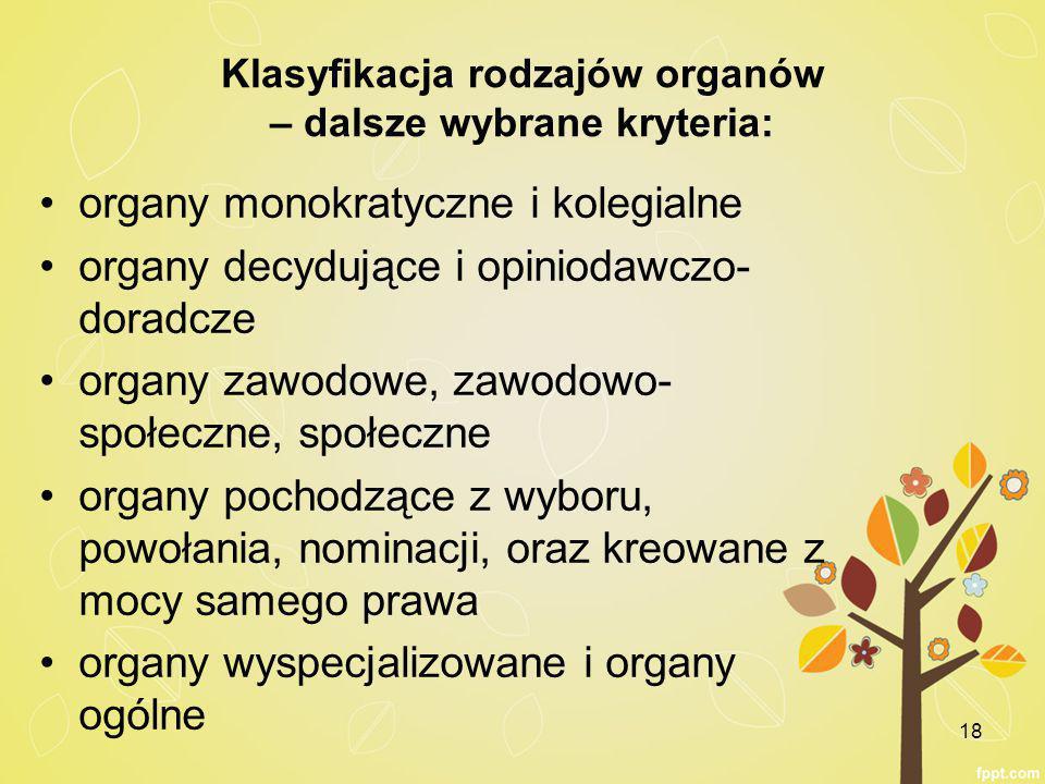 Klasyfikacja rodzajów organów – dalsze wybrane kryteria: