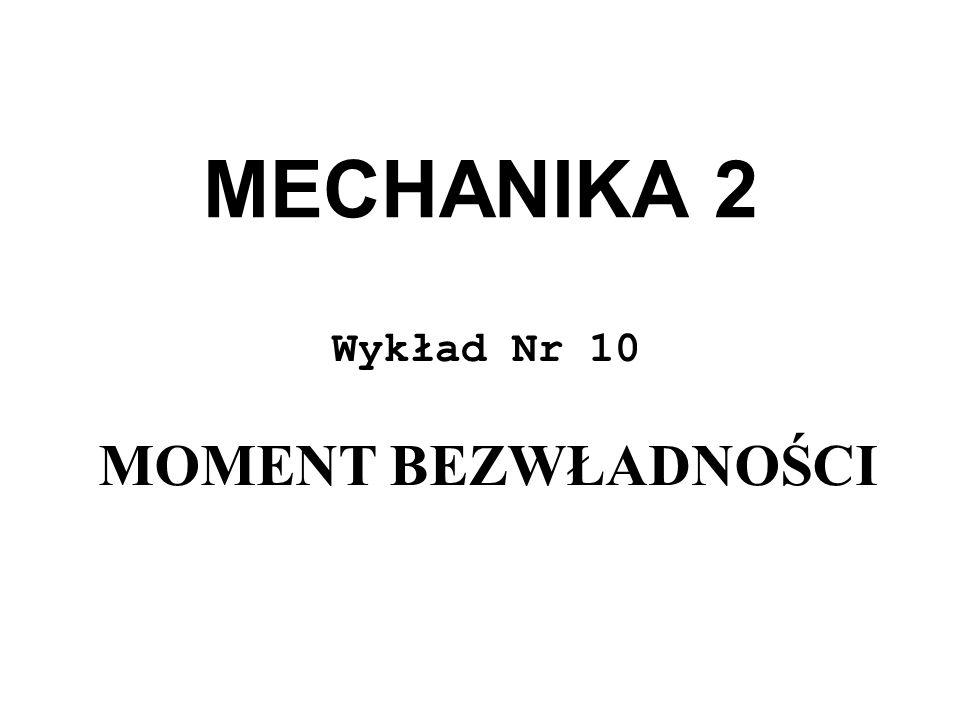 MECHANIKA 2 Wykład Nr 10 MOMENT BEZWŁADNOŚCI
