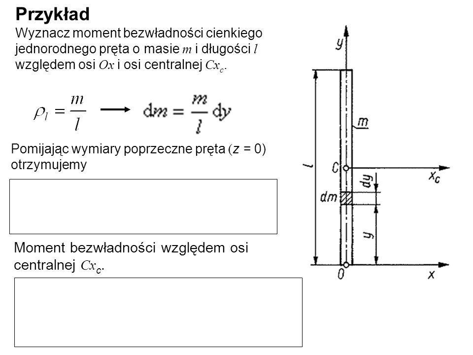 Przykład Wyznacz moment bezwładności cienkiego jednorodnego pręta o masie m i długości l względem osi Ox i osi centralnej Cxc.