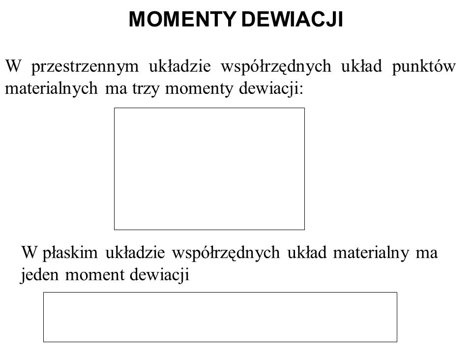 MOMENTY DEWIACJI W przestrzennym układzie współrzędnych układ punktów materialnych ma trzy momenty dewiacji: