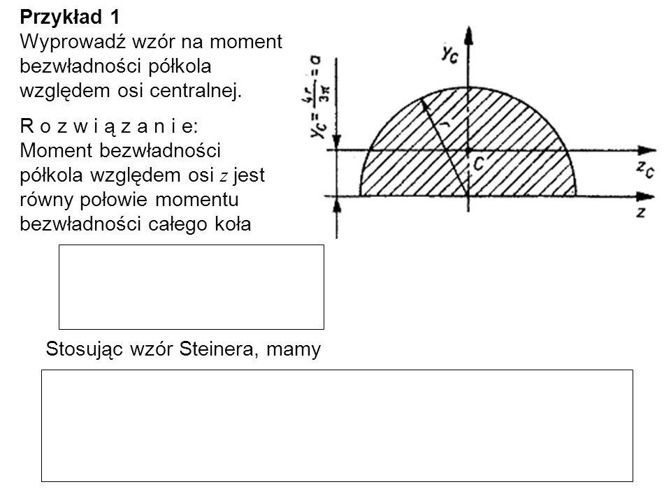 Przykład 1 Wyprowadź wzór na moment bezwładności półkola względem osi centralnej.