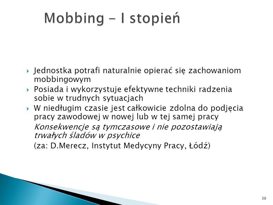 Mobbing - I stopień Jednostka potrafi naturalnie opierać się zachowaniom mobbingowym.