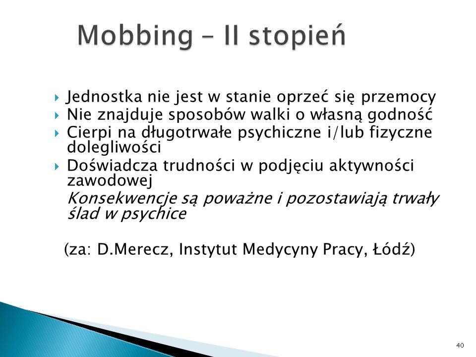 Mobbing – II stopień Jednostka nie jest w stanie oprzeć się przemocy
