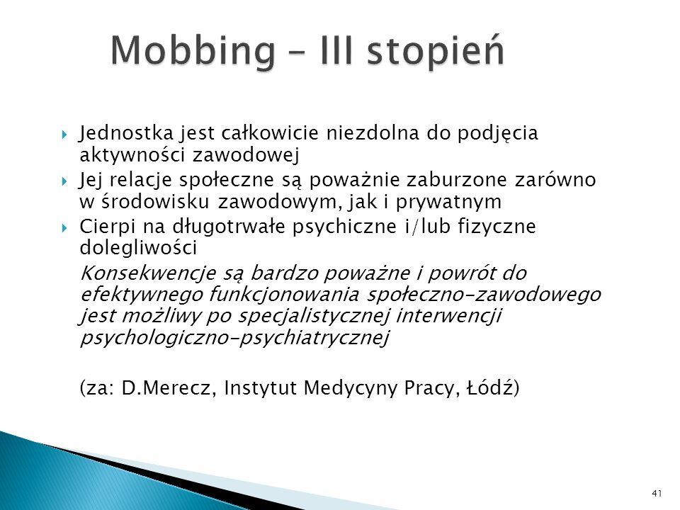 Mobbing – III stopień Jednostka jest całkowicie niezdolna do podjęcia aktywności zawodowej.